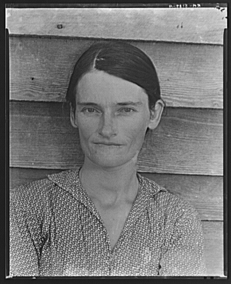 Allie Mae Burroughs, wife of a Cotton Sharecropper.  Hale County, Alabama (1936).  Library of Congress, Prints & Photographs Division, FSA/OWI Collection, LC-USF342-T01-008139-A (b&w film dup. neg.)