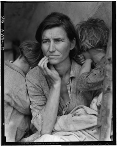 Destitute pea pickers in California. Mother of seven children. Age thirty-two. Nipomo, California, Library of Congress, Prints & Photographs Division, FSA/OWI Collection, LC-USF34-T01-009058-C (b&w film dup. neg.)
