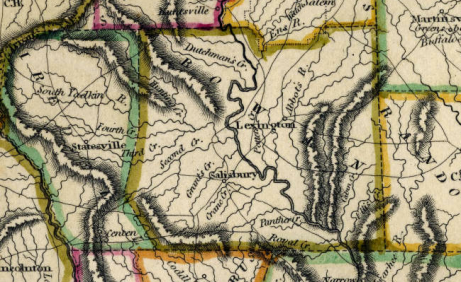 Detail of 1818 map of NC by Samuel Lewis. North Carolina Maps at UNC