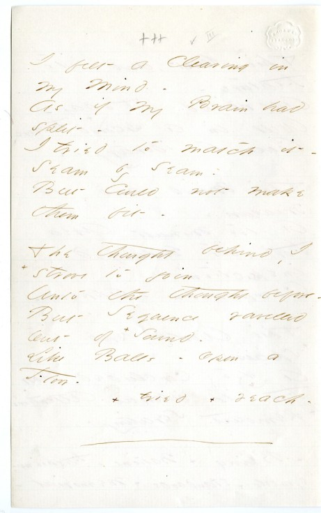 """I felt a Cleaving in my Mind,"" (Fr867), from Emily Dickinson Archive."