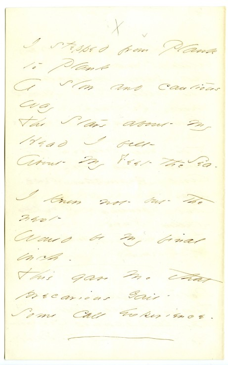 """I stepped from Plank to Plank"" (Fr926), from Emily Dickinson Archive."