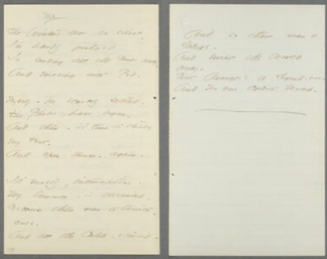 """The Winters are so short –"" (Fr532), showing the half-sheet (right) used for the last stanza of the poem.  From the Emily Dickinson Archive."