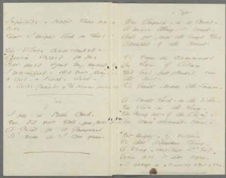 "Emily Dickinson, fascicle 28, sheet 1, pages 2-3: ""My period had come for Prayer –"" (Fr525) and ""I pay – in Satin Cash –"" (Fr526) [left], ""One Anguish – in a Crowd –"" (Fr527) [right].  From the Emily Dickinson Archive."