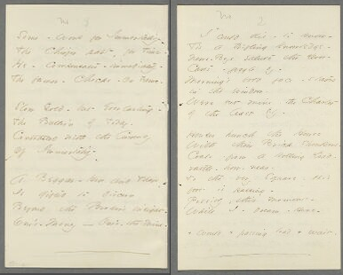"Fascicle 28, sheet 4, page 4: ""Some – Work for Immortality –"" (Fr536) [left]; sheet 5, page 1: ""I could die – to know –"" (Fr537) [right].  From the Emily Dickinson Archive."