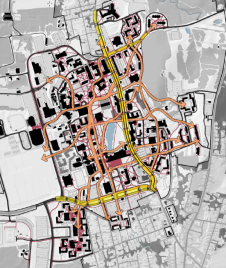 Pedestrian/Vehicular Conflicts, UMass Amherst Campus Master Plan, p. 79