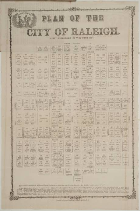 1834 Plan of Raleigh