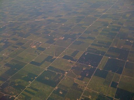 Sections of farmland in central Indiana