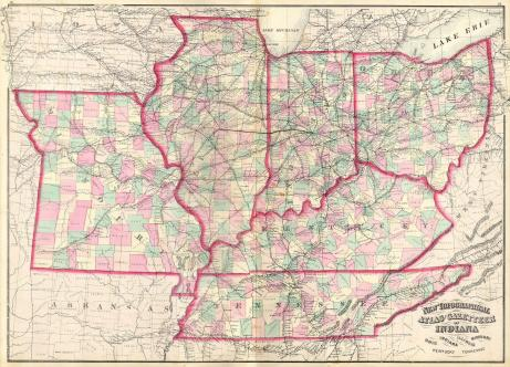 1873 Asher & Adams Map of the Midwest