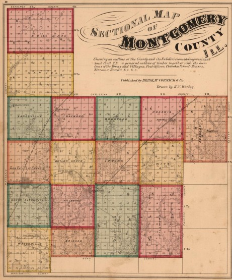 1874 Brink, McCormick map of Montgomery County, Illinois