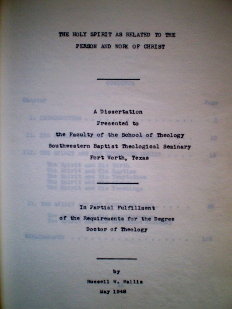 Cover page of my grandfather's Th.D. dissertation (May, 1948)